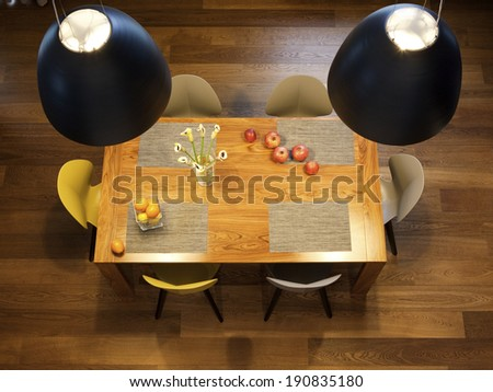 Interior design - dinning table, big bowl lamps and chairs in a kitchen - stock photo