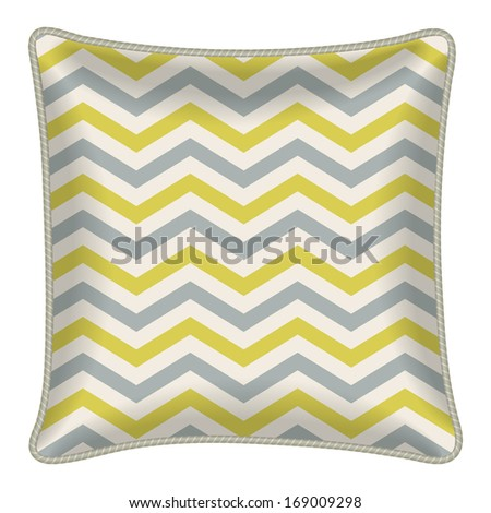 Interior Design Element Decorative Pillow With Patterned Pillowcase Chevron Pattern Isolated On