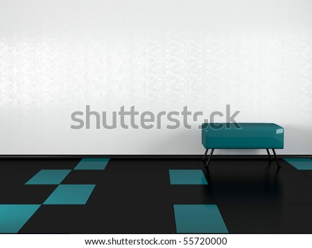Interior design, green sofa in the empty room, nice composition, 3d illustration, similar compositions available in my portfolio