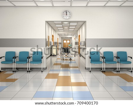 Interior Design Hospital Reception Place Waiting Stock Illustration