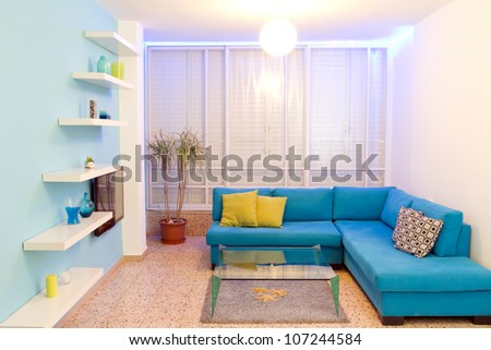Interior design in a new house. Different colors of lighting - stock photo