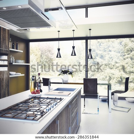 Interior design - Kitchen 3D render - stock photo