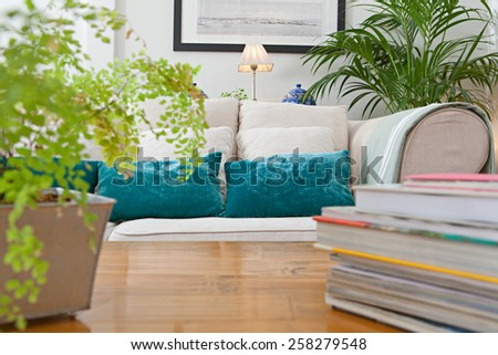 Interior design lifestyle of a home living room with white sofa and green cushions and plants, interior. House indoors with carpets and books on coffee table. Tranquil and aspirational home space.