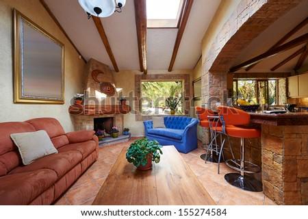 Interior design: living room and kitchen - stock photo