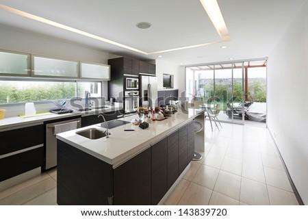 Interior design modern big kitchen stock photo 143839720 for Kitchen designs big
