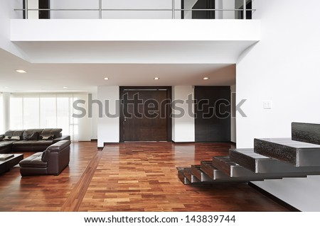 Interior design: Modern big living room - stock photo