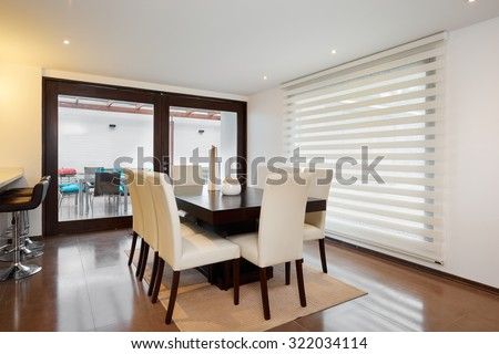 Interior design: Modern elegant dining room - stock photo