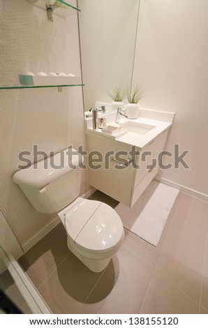 Interior design of a bathroom with washbasins (sink) and the toilet and the counter.