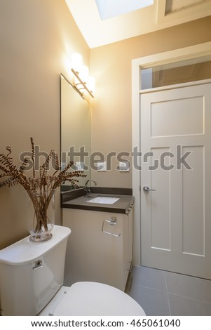 Interior design of a clean bright bathroom in a house hotel.