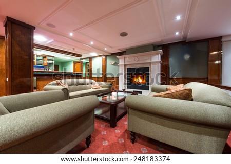 interior design of a hotel lobby - stock photo