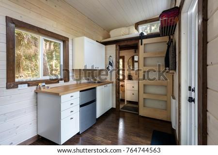 interior design kitchen bathroom tiny rustic stock photo royalty
