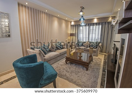 Interior design of a luxury apartment show home living area and lounge