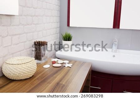 Interior design of a luxury bathroom - stock photo
