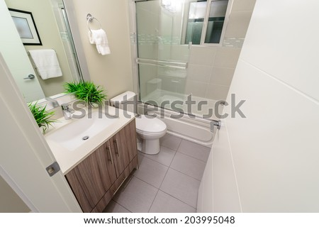 Interior design of a luxury bathroom, washroom with washbasin (sink), bathtub and decorative pots with plants on the counter. - stock photo