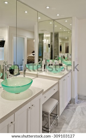 Interior design of a luxury bathroom with washbasin (sink) and some decoration on the counter. Vertical.