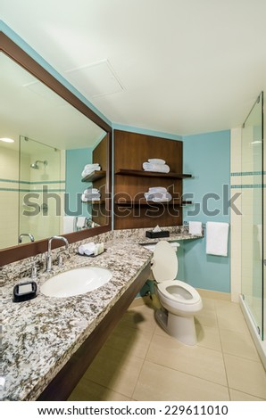 Interior design of a spacious blue and brown bathroom.