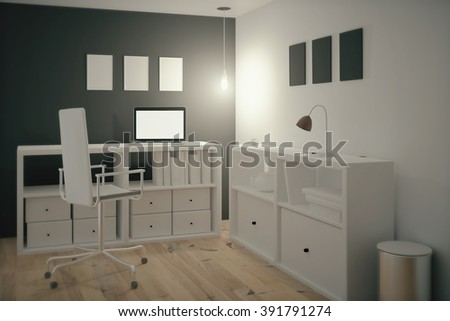 Interior design of a work place in an office. 3D Render - stock photo