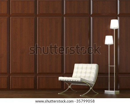 interior design of classic leather chair and lamp on dark wood cladding wall - stock photo
