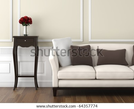interior design of classic room in beige and white colors with couch table and a vase of roses, copy space on top half - stock photo