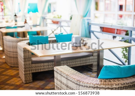 Interior design of empty outdoor restaurant at the daylight - stock photo