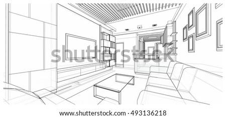 Interior design of living area, 3d sketch design, illustration
