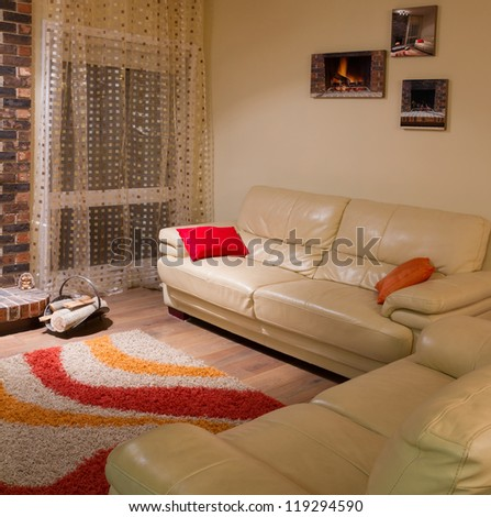 Interior design of living room in a new house - stock photo