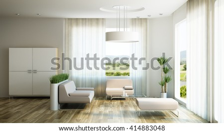 interior design of lounge room, 3d rendering - stock photo