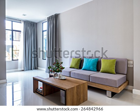 Interior Design Of Minimalist Modern Living Room With Sofa
