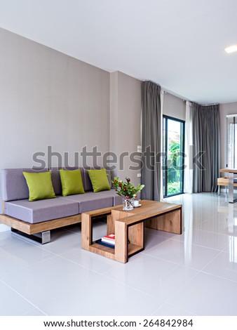 Interior design of minimalist modern Living room with sofa - stock photo