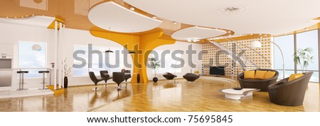 Interior design of modern apartment living dining room kitchen panorama 3d render - stock photo