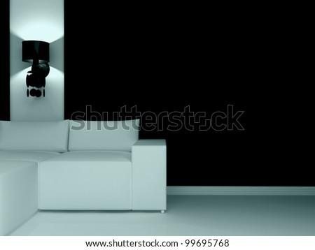 Interior design of modern dark living room with white sofa, 3d render. - stock photo