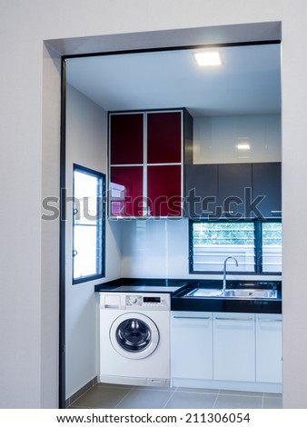 Interior design of modern kitchen - stock photo
