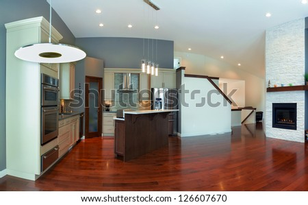 Interior design of modern kitchen  in a new house