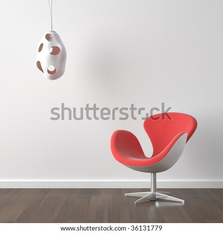 interior design of modern orange armchair and lamp against a white wall with copy scape - stock photo