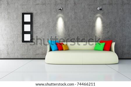 interior design of modern sofa - stock photo