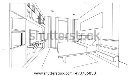 Bedroom Designs Outline interior design modern style bedroom 3d stock illustration