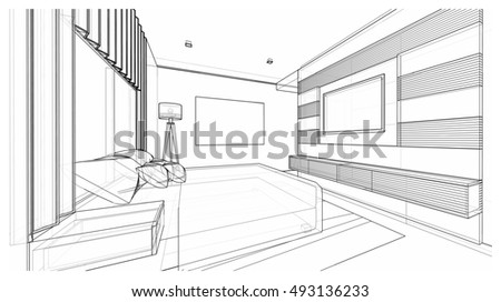 Interior Design Of Modern Style Bedroom, 3D Wire Frame Sketch, Perspective