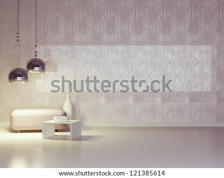 Interior design of modern violet lounge. Contemporary furniture indoor. - stock photo