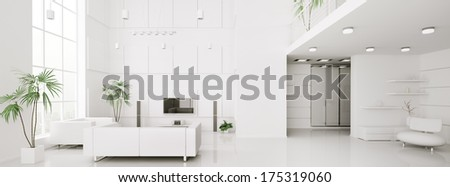 Interior design of modern white apartment panorama 3d render - stock photo