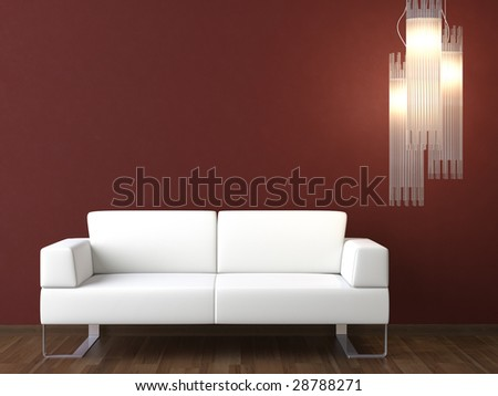 interior design of modern white couch and lamp on bordeaux wall - stock photo