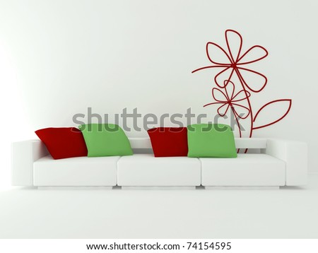 interior design of modern white living room with big white sofa with red and green pillows, 3d render