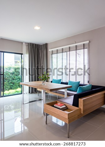 Interior design of neutral modern dining room in a new house
