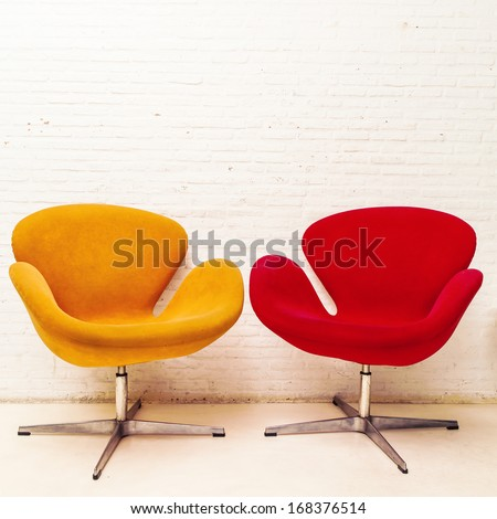 Interior design of two chairs modern. - stock photo