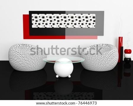interior design of white living room with modern furniture, nice decor, 3d render - stock photo
