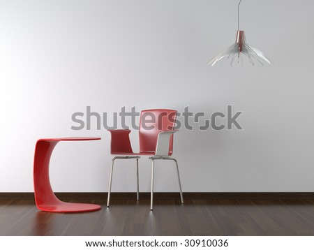 interior design red chair table and lamp on white wall with copy space