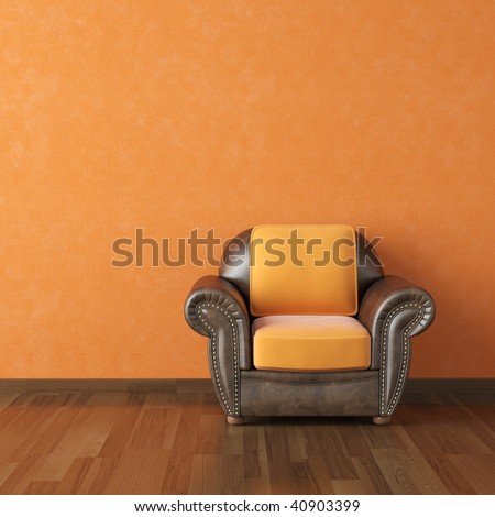 interior design scene brown leather couch on a orange wall background copy space
