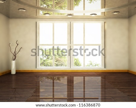 interior design scene with a big window and a vase - stock photo