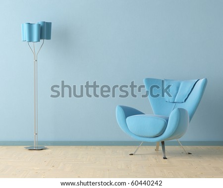 Interior design scene with a modern blue couch and lamp on blue wall - stock photo