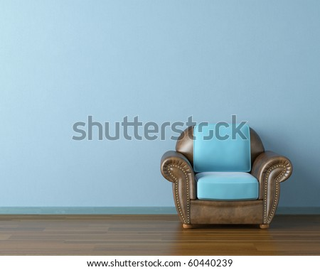 Interior design scene with a modern brown leather couch and lamp on blue wall - stock photo