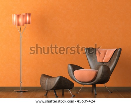 Interior design scene with a modern brown leather couch and lamp on orange wall - stock photo